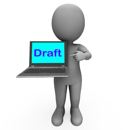 Draft Character Laptop Showing Outline Correspondence Or Letter Online photo