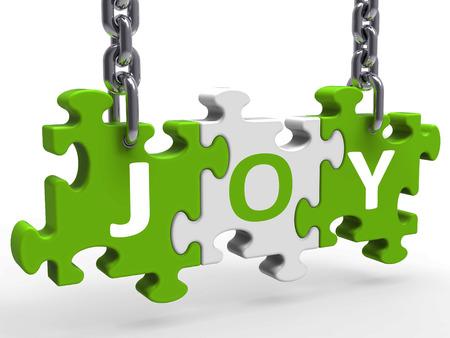 joyousness: Joy Puzzle Showing Fun Cheerful Joyful And Enjoy Stock Photo
