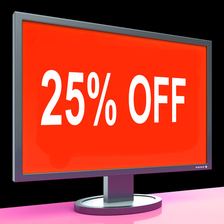 Twenty Five Percent Off Monitor Meaning Discount Or Sale Online photo