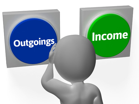 outgoings: Outgoings Income Buttons Showing Budgeting Or Bookkeeping