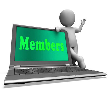 subscribing: Members Laptop Showing Membership Registration And Web Subscribing