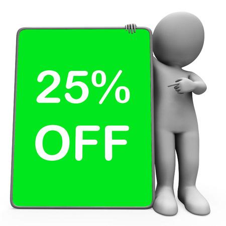 twenty five: Veinticinco por ciento de descuento de la tableta de Car�cter Significado Reducci�n de 25% o la venta en l�nea Foto de archivo