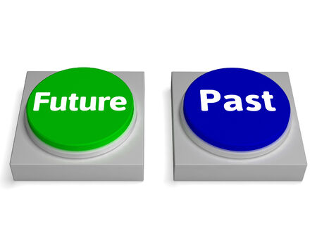 Future Past Buttons Showing Destiny Or History photo