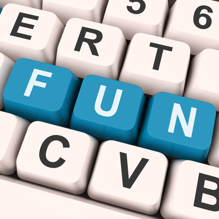 Fun Keys On Keyboard Showing Entertainment Pleasing Or Exciting