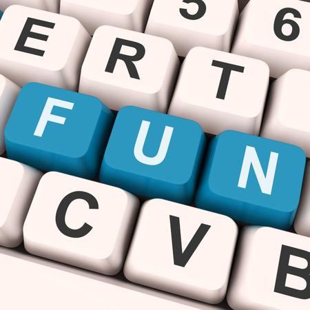 enjoyable: Fun Keys On Keyboard Showing Entertainment Pleasing Or Exciting
