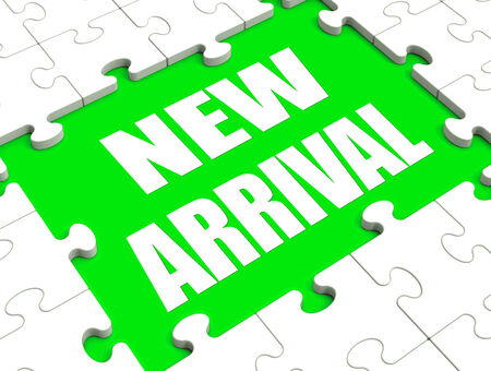 new arrival: New Arrival Puzzle Showing Latest Products Announcement Arriving Stock Photo