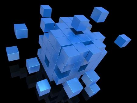 disharmony: Exploding Blocks Showing Unorganized Puzzle And Explosion