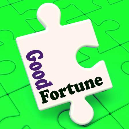 fortunate: Good Fortune Puzzle Showing Fortunate Winning Or Lucky