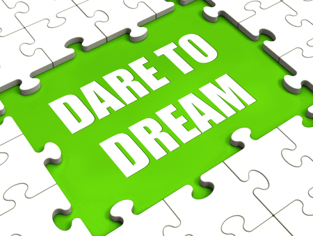 Dare To Dream Puzzle Showing Dreaming Hope And Imagination Stock Photo