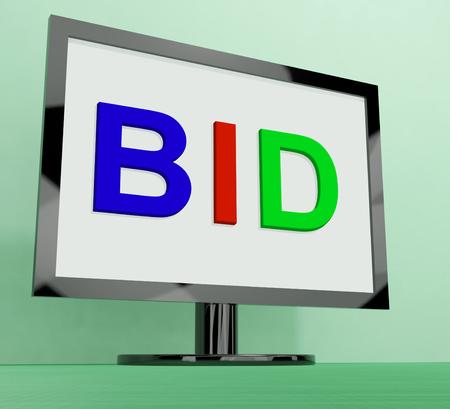 bid: Ofertas m�s monitor que muestra una oferta o subasta Foto de archivo