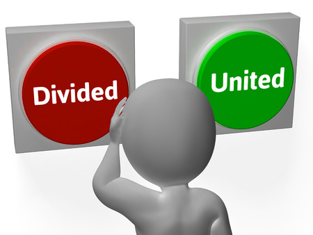 divided: Divided United Buttons Showing Disunited Or Togetherness