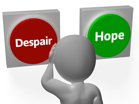 hoping: Despair Hope Buttons Showing Desperate Or Hoping Stock Photo