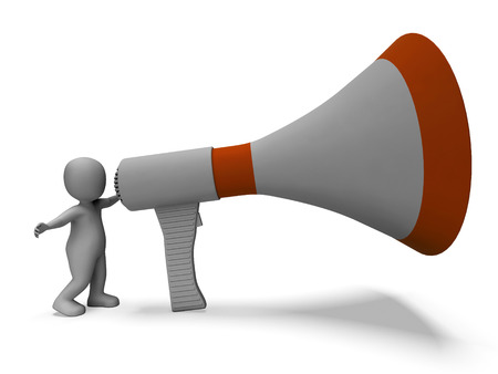 announcing: Megaphone Character Showing Announcing Speech Explaining And Loud Hailer