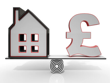 House And Pound Balancing Show Investment Or Mortgage Stock Photo - 26063795