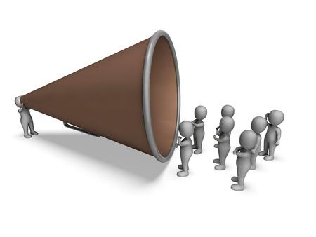 loudhailer: Car�cter Meg�fono Mostrando Anuncio Altavoz Explicando And Loud Hailer