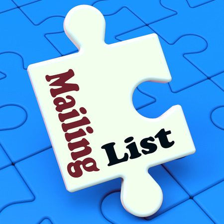email lists: Mailing List Puzzle Showing Email Marketing Lists Online Stock Photo