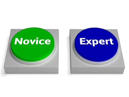 beginner: Novice Expert Buttons Showing Beginner And Expertise Stock Photo