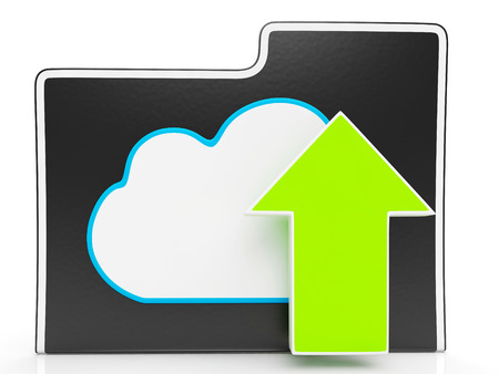 ftp: Upload Arrow And Cloud File Shows Uploading By Ftp Stock Photo