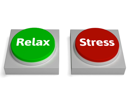 pressured: Relax Stress Buttons Showing Relaxed Or Stressed Stock Photo