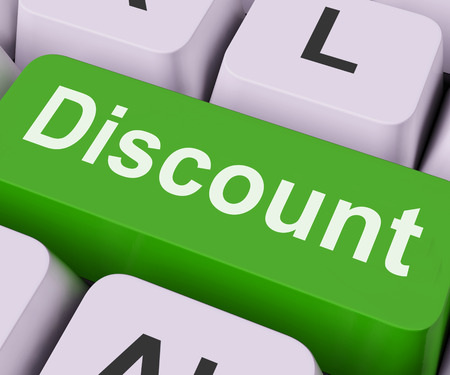 discounted: Discount Key On Keyboard Meaning Rebate Cut Price Or Reduce