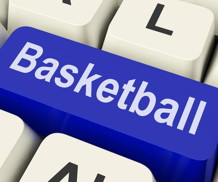 international basketball: Basketball Key Showing Basket Ball On Internet Or Web