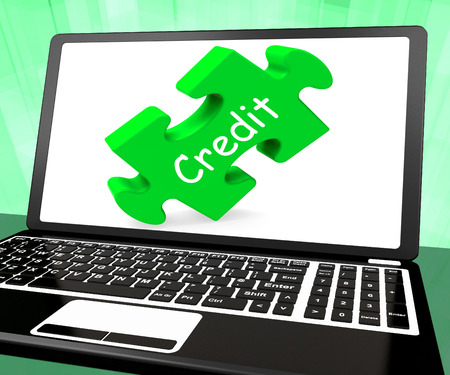 loaning: Credit Laptop Showing Finance Or Loaning For Purchasing