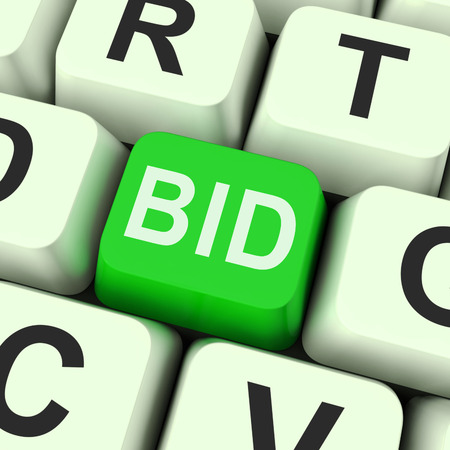 bidding: Bid Key Showing Online Auction Or Bidding