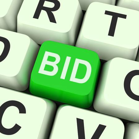 bid: Clave Oferta Mostrando subasta o licitaci�n Online Foto de archivo