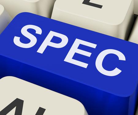 specifiche: Spec Keys Mostro Specifiche dettagli o design Archivio Fotografico