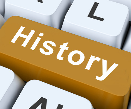 the old days: History Key On Keyboard Meaning Past Yesterday Or Old Days   Stock Photo