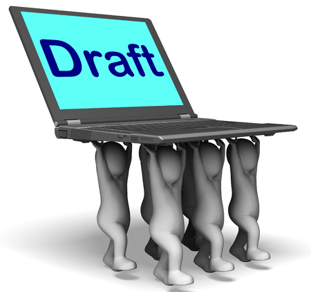 Draft Characters Laptop Showing Outline Document Or Letter Online photo