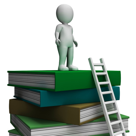 educated: Student On Books Showing Educated And Knowledge