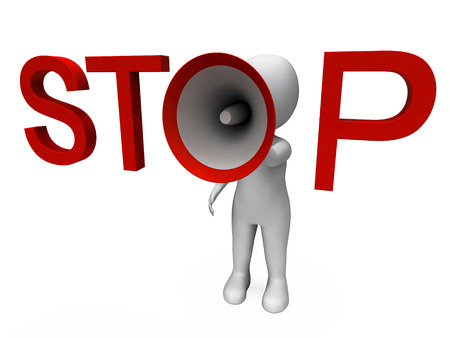 halt: Stop Hailer Showing Halt Warning Refuse And Warn