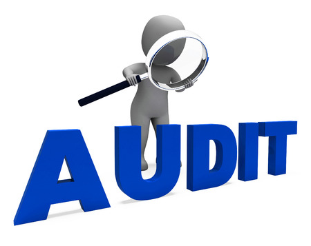 financial audit: Audit Character Meaning Validation Auditor Or Scrutiny Stock Photo