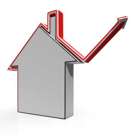 House Icon Shows Home Or Building Price Increases