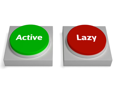 inaction: Active Lazy Buttons Showing Action Or Inaction Stock Photo