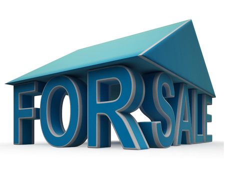 For Sale Sign Under Home Showing Selling Property Stock Photo