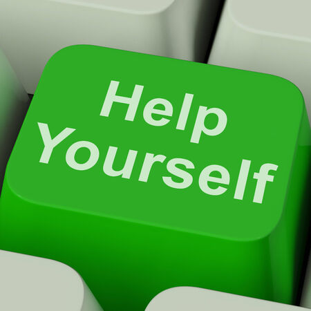 self   improvement: Help Yourself Key Showing Self Improvement Online Stock Photo