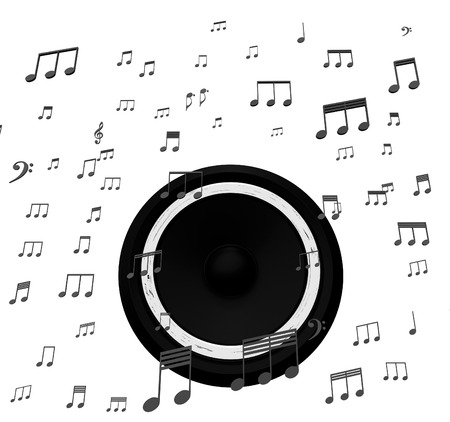 soundtrack: Speaker And Music Notes Showing Soundtrack Disco Or Concert