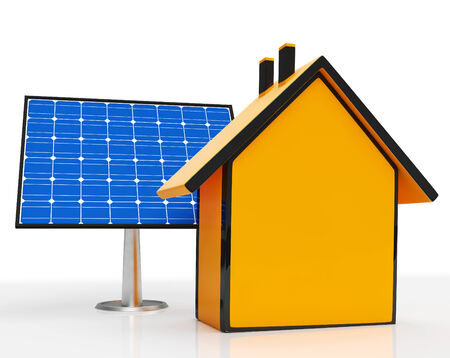 solarpanel: Solar Panel By Home Showing Renewable Energy Stock Photo