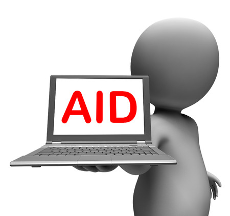 aiding: Aid Character Laptop Showing Assistance Aiding Helping Or Relief