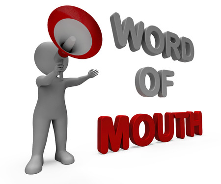 Word Of Mouth Character Showing Communication Networking Discussing Or Buzz photo