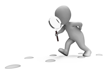 investigate: Detective Character Following Footprints Showing Investigate Investigation Or Searching Stock Photo