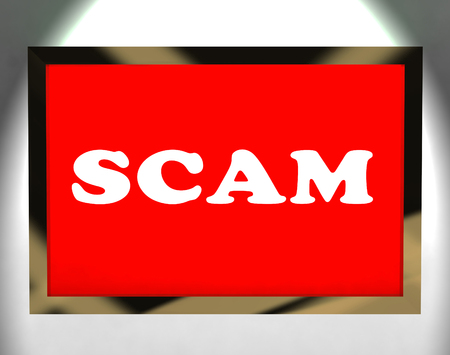 fraudulent: Scam Screen Showing Swindles Hoax Deceit And Fraud