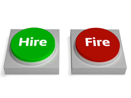 Hire Fire Buttons Showing Hiring Or Firing photo