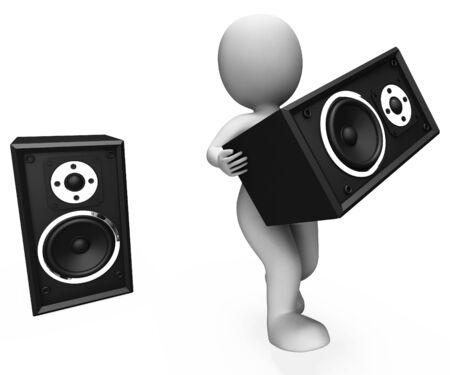 loud speakers: Loud Speakers Character Showing Music Disco Or Party