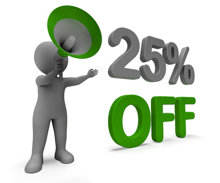 Twenty Five Percent Off Character Meaning Cut Rate Or Sale 25% photo