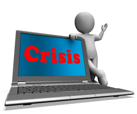 calamity: Crisis Laptop Meaning Calamity Troubles Or Critical Situation Stock Photo