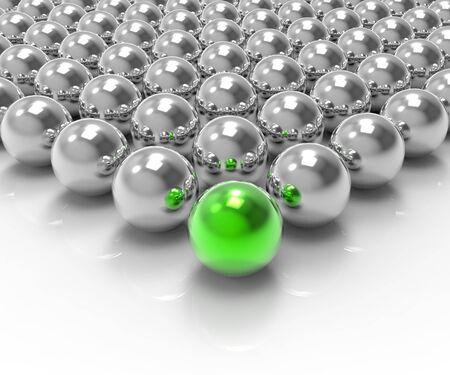 accomplishing: Leading Metallic Ball Showing Leadership Accomplishing Or Winning