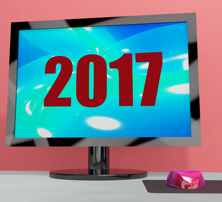 seventeen: Two Thousand And Seventeen On Monitor Showing Year 2017 Stock Photo